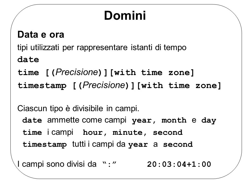 Domini Data e ora date time [(Precisione)][with time zone]